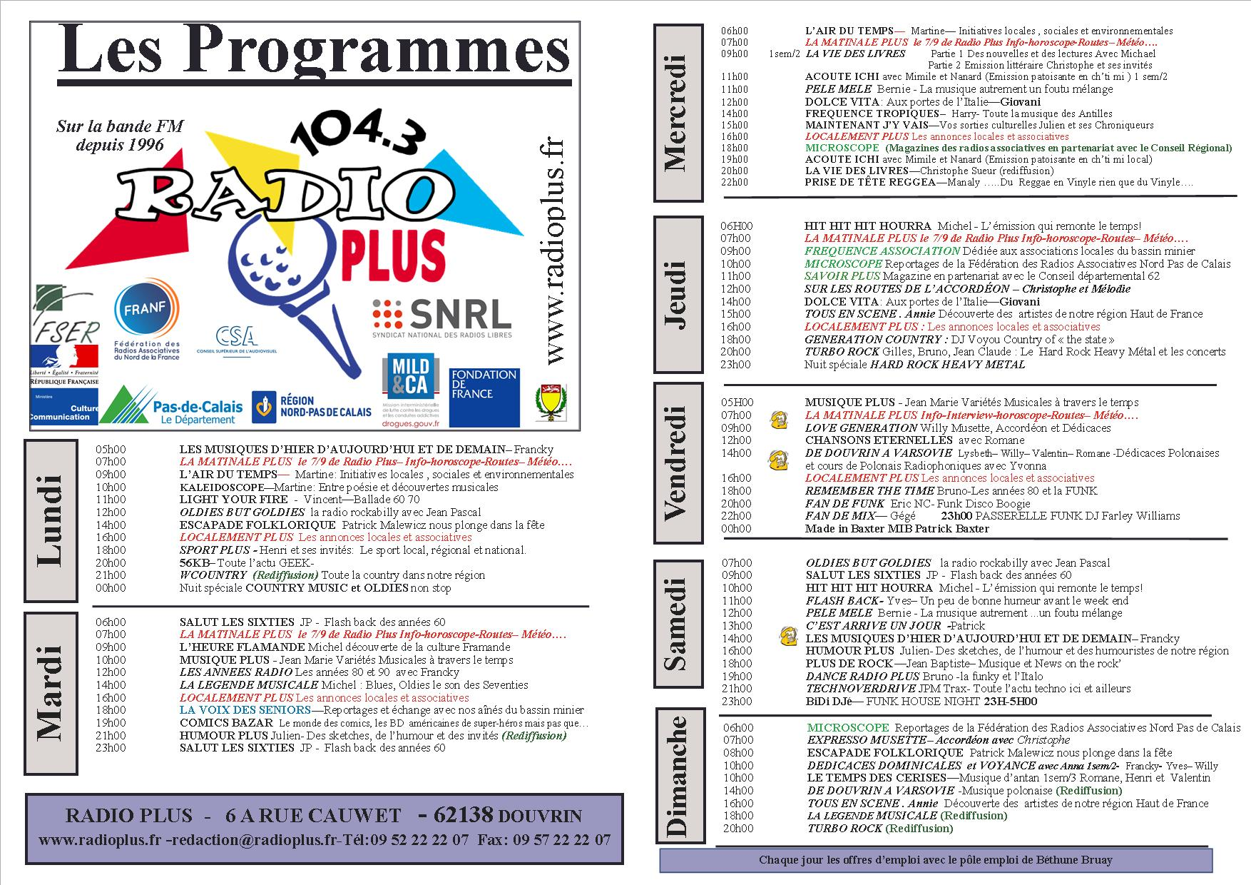 GRILLE PROGRAMME 2017