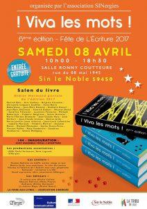 "Affiche salon du livre ""Viva les Mots!"" - 8 avril 2017"