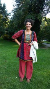 la conteuse Françoise Barret (compagnie Dire d'Étoile), au parc Mosaïc, à Houplin-Ancoisne, près de Lille, en août 2018